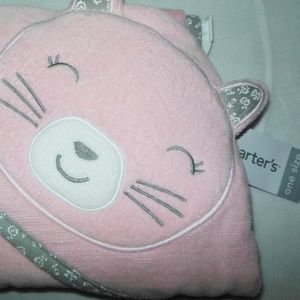 New Carter's Pink Cat Hooded Terry Baby Bath Towel